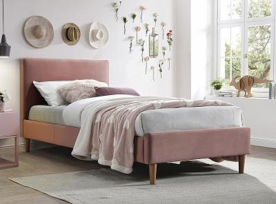 Кровать SIGNAL Acoma Velvet (90*200) античный розовый/дуб