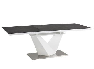 Обеденный стол SIGNAL Alaras II 120 раскладной, черный+белый лак, 120-180/80/75