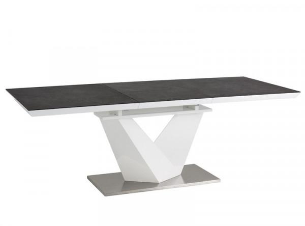Обеденный стол SIGNAL Alaras II 160 раскладной, черный+белый лак, 160-220/90/76