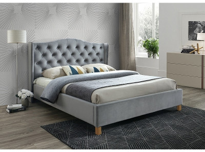 Кровать SIGNAL Aspen Velvet (140*200) серый/дуб