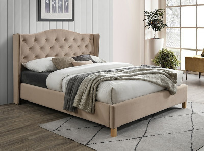 Кровать SIGNAL Aspen Velvet (160*200) бежевый/дуб