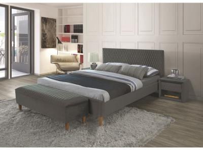 Кровать SIGNAL Azurro Velvet (140*200) серый/дуб