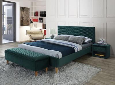Кровать SIGNAL Azurro Velvet (140*200) зеленый/дуб