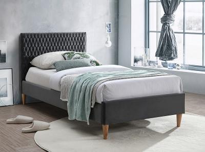Кровать SIGNAL Azurro Velvet (90*200) серый/дуб