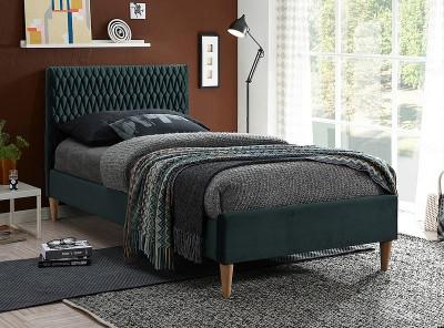 Кровать SIGNAL Azurro Velvet (90*200) зеленый/дуб