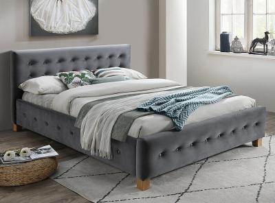 Кровать SIGNAL Barcelona Velvet (160*200) серый/дуб