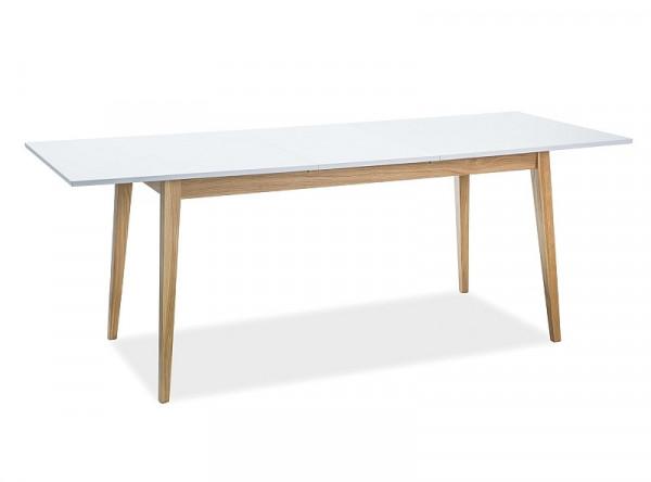 Обеденный стол SIGNAL Cesar 120 раскладной, белый матовый/дуб, 120-165/68/75