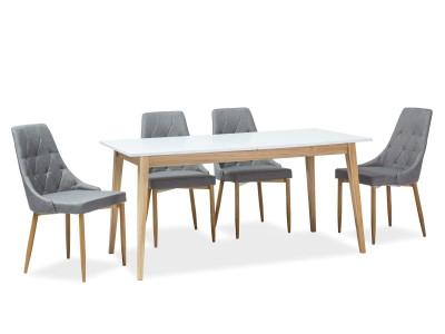 Обеденный стол SIGNAL Cesar 160 раскладной, белый матовый/дуб, 160-205/80/75