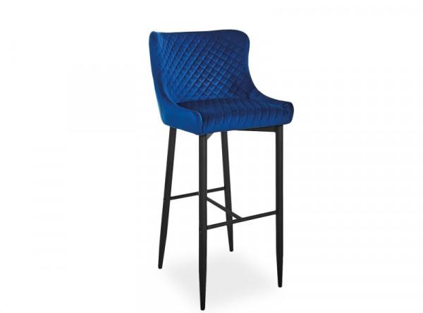 Барный стул SIGNAL Colin B H-1 Velvet темно-синий/черный матовый
