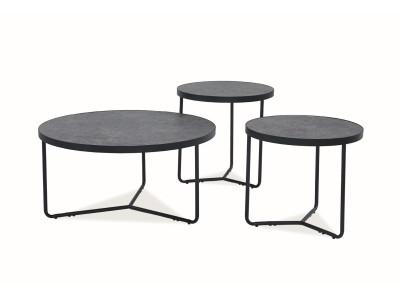 Комплект SIGNAL Demeter (3 журнальных столика) серый, бетон эффект/черный матовый,d80;d50;d50