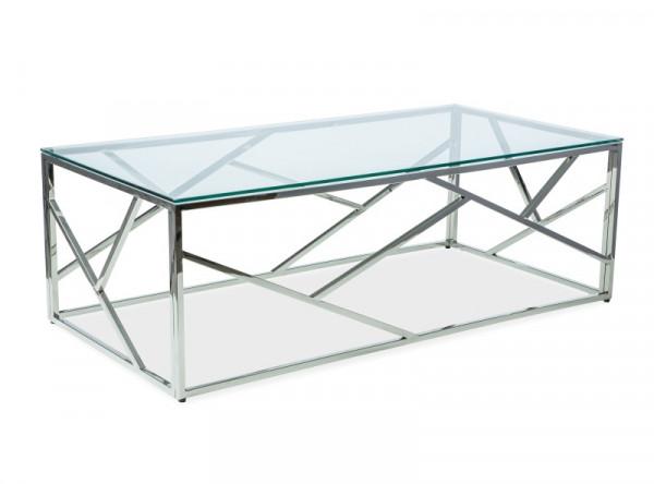 Стол журнальный SIGNAL Escada A прозрачный/серебрянный, 120/60/40