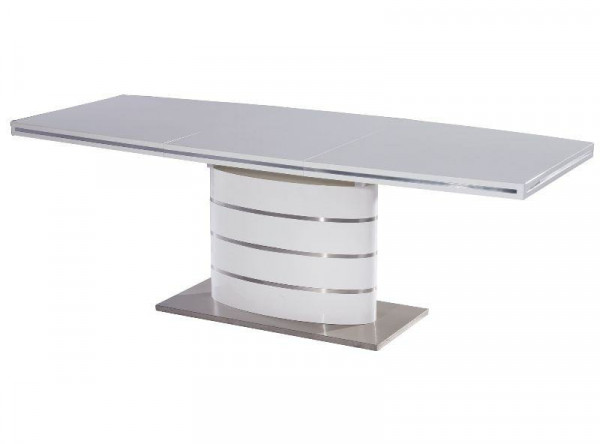 Обеденный стол SIGNAL Fano 140 раскладной, белый лак, 140-200/90/77