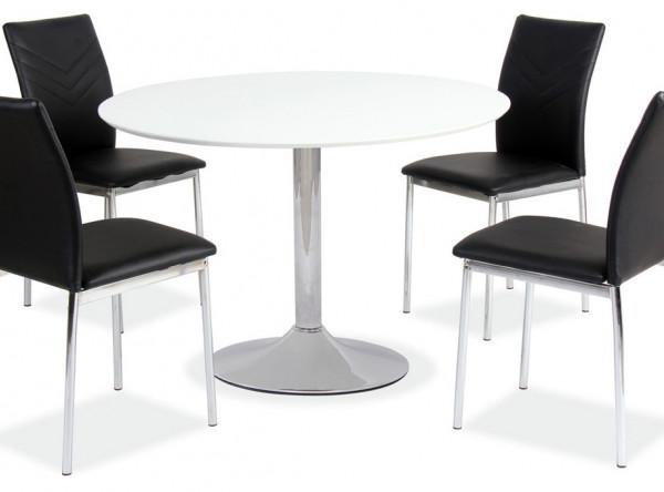 Обеденный стол SIGNAL Flavio белый лак/хром, d90/75