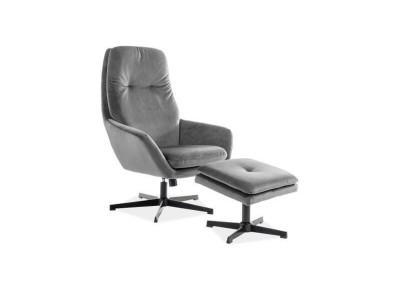Комплект SIGNAL Ford Velvet (кресло+подставка для ног) серый/черный