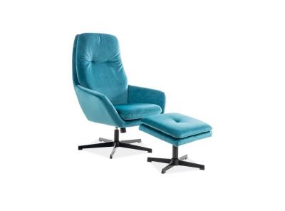 Комплект SIGNAL Ford Velvet (кресло+подставка для ног) бирюзовый/черный
