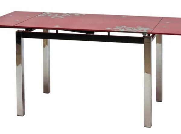 Обеденный стол SIGNAL GD-017 раскладной, красный/хром, 110-170/74/75