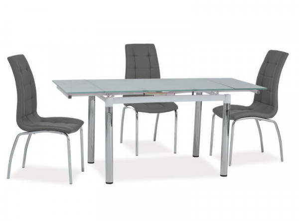 Обеденный стол SIGNAL GD-018 раскладной, белый/хром, 110-170/74/75