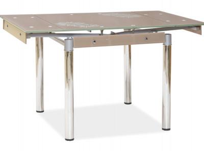 Обеденный стол SIGNAL GD-082 раскладной, темно-бежевый/хром, 80-131/80/75