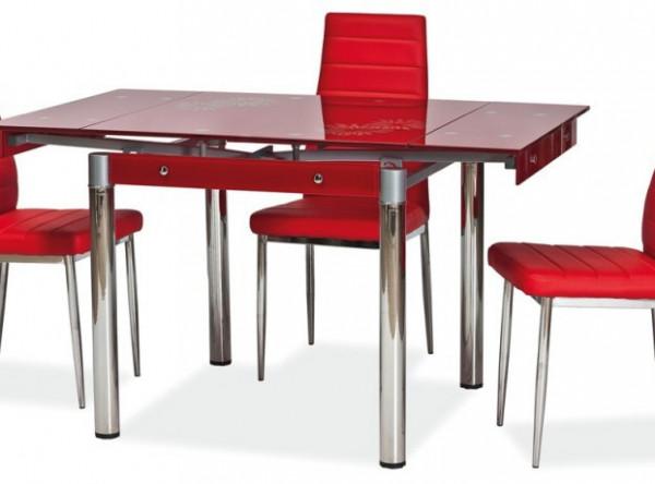 Обеденный стол SIGNAL GD-082 раскладной, красный/хром, 80-131/80/75