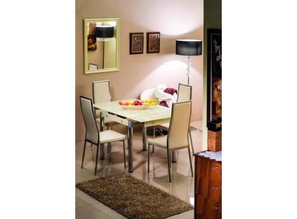 Обеденный стол SIGNAL GD-082 раскладной, коричневый/хром, 80-131/80/75