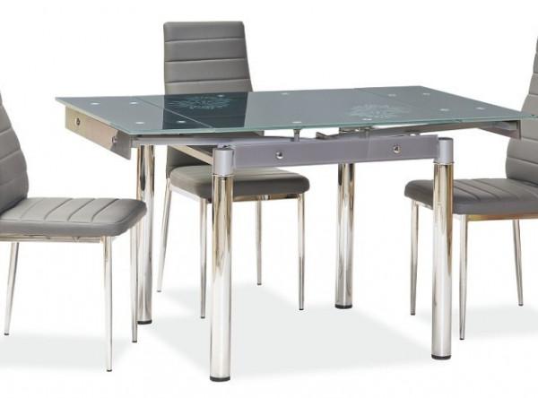 Обеденный стол SIGNAL GD-082 раскладной, серый/хром, 80-131/80/75