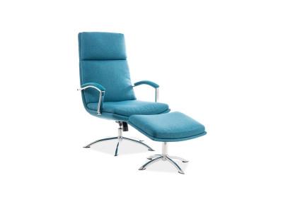 Комплект SIGNAL Jefferson (кресло+подставка для ног) бирюзовый/хром