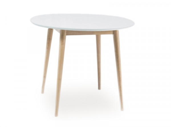 Обеденный стол SIGNAL Larson белый/дерево, d90/75