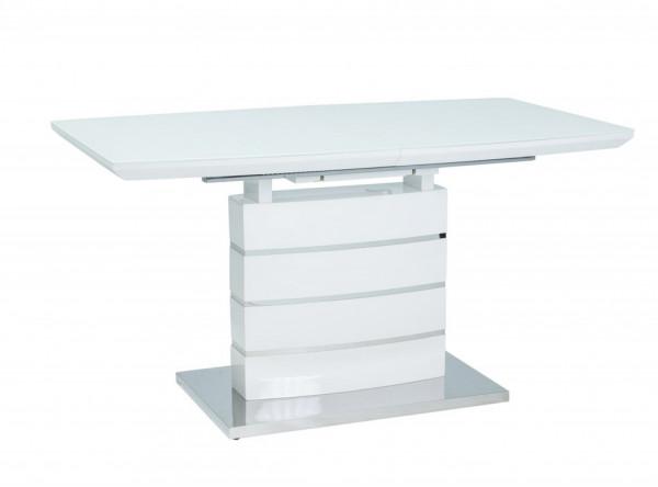 Обеденный стол SIGNAL Leonardo 140 раскладной, белый лак, 140-180/80/76