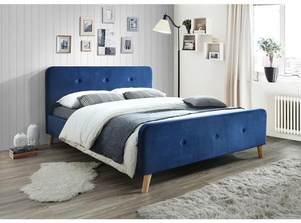 Кровать SIGNAL Malmo Velvet (160*200) темно-синий/дуб