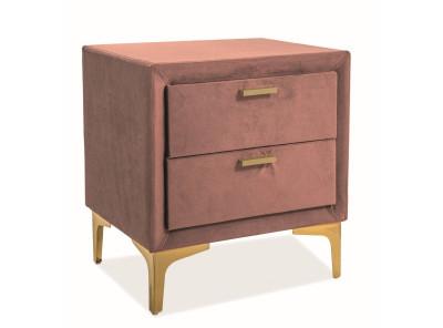 Тумбочка прикроватная SIGNAL Monako Velvet  античный розовый