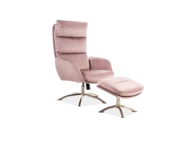 Комплект SIGNAL Monroe Velvet (кресло+подставка для ног) античный розовый/сталь