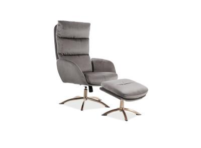 Комплект SIGNAL Monroe Velvet (кресло+подставка для ног) серый/сталь