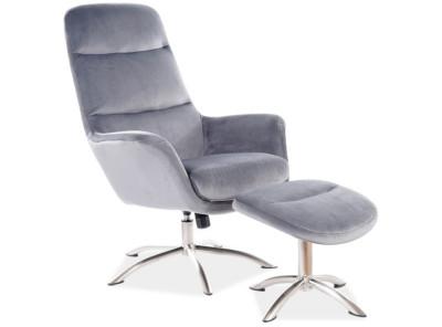 Комплект SIGNAL Nixon Velvet (кресло+подставка для ног) серый/сталь