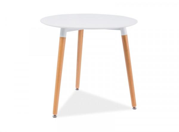 Обеденный стол SIGNAL Nolan III белый/бук, d80/75