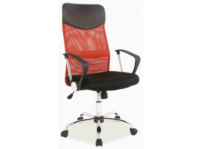 Кресло компьютерное SIGNAL Q-025 красный+черный/хром