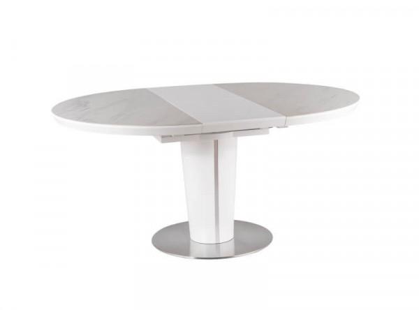 Обеденный стол SIGNAL Orbit Ceramic 120 раскладной, белый керамический/белый матовый, 120-160/120/76