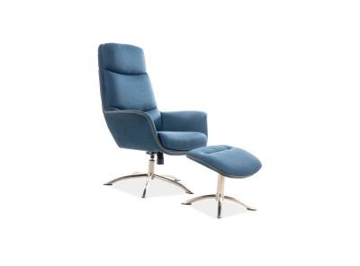 Комплект SIGNAL Regan (кресло+подставка для ног) морской/сталь
