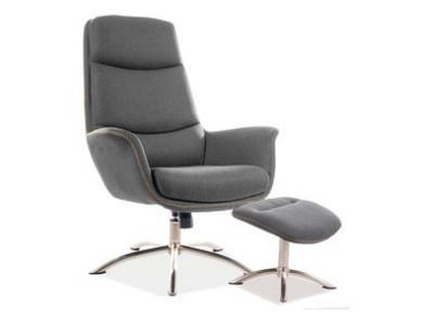 Комплект SIGNAL Regan (кресло+подставка для ног) серый/сталь