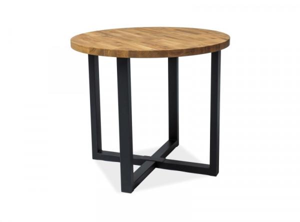 Обеденный стол SIGNAL Rolf 90 дуб натуральный/черный, d90/78