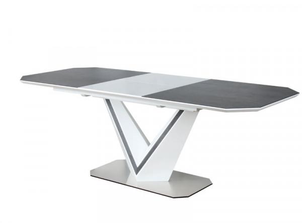 Обеденный стол SIGNAL Valerio Ceramic 160 раскладной, серый/белый матовый, 160-220/90/76